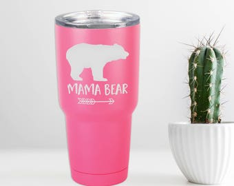 Mama Bear Pink Powder Coated Tumbler - 30 oz. Vacuum Insulated Stainless Steel Polar Camel Tumbler for Mom Mother Gift