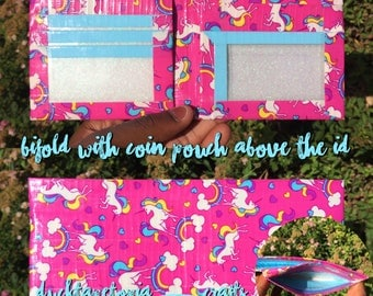 Unicorn Duct Tape Bifold Wallet with a coin pouch above the ID