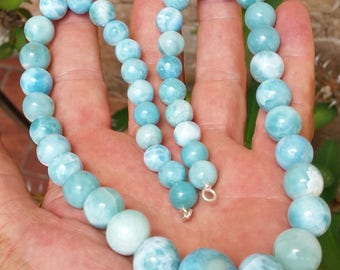 great one blue LARIMAR round beaded stones 925 Sterling silver NECKLACE #10
