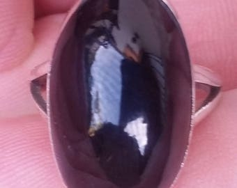 Natural black CORAL and 925 sterling silver RING size 8.25 (CO-03)