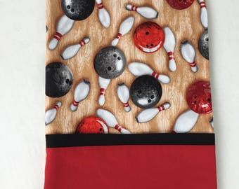 Bowling Pillowcase-Sports-Cotton Standard Pillow case-Red-Beige-Friend gift-Home decor