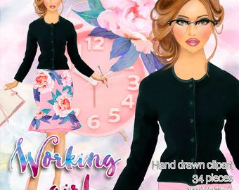 Working girl themed clipart / 34 fashion girl clipart / Quality  graphics for planners and more / 300ppi transparent background