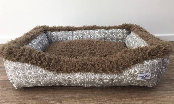 Lounger Dog Bed  - 'Mandela' design in Ecru slub canvas print with minky llama - SMALL, MEDIUM, LARGE