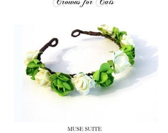 Crown for Cats - Flower diadem for cats - Headpiece for animals - Tiara for cats