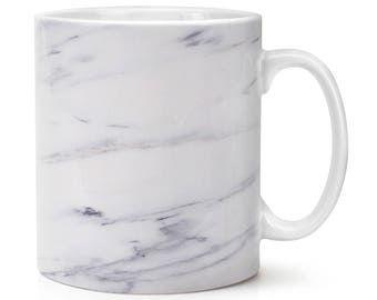 Grey White Veined Marble Effect 10oz Mug Cup