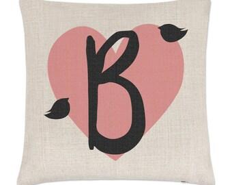 Letter B Heart Alphabet Linen Cushion Cover