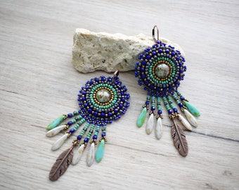 Bead Embroidered Earrings, Cobalt bohemian dangle earrings. Blue handmade earrings.