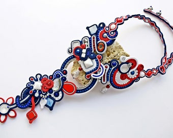 Summer Hand embroidered, colourful soutache necklace. OOAK statement necklace. Soutache necklace. Soutache jewelry. Gift for her
