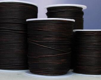 1.5mm  dyed dark brown premium leather- 10 meters/32.5 feet