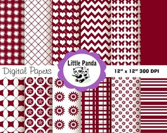 60% OFF SALE Burgundy Digital Paper Pack, Scrapbook Papers, 12 jpg files 12 x 12  - Instant Download - D26