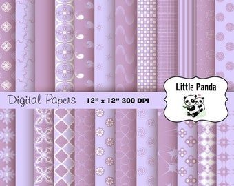 80% OFF SALE Pale Lavender and Lilac Digital Paper - Digital Scrapbooking  - Instant Download - D234