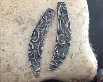 Handmade Long Textured Drop Charms, Facing Pair, Handcrafted, Jewelry Supplies No. 615CD