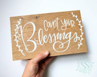 "Count Your Blessings - Small / Salty Sunbeam Sign Shop / ""Blessed"" Collection / Christian Wall Art / Living Room Wall Art / THW219"