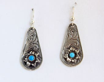 Rockin Out Jewelry - Maggie - Sterling Silver - Turquoise Earrings - Western Style Flower - Classy Dangles - Gift For Her - Valentines Day