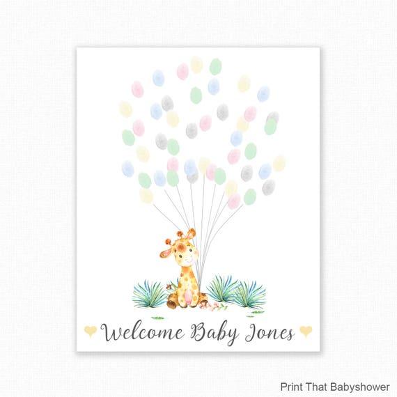 Baby Shower Fingerprint Guest Book Giraffe Baby Shower
