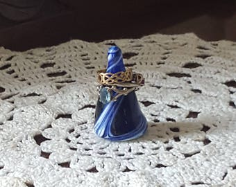 Ring cone, jewellery storage, glass art, glass sculpture, gift for her, engagement gift, blue glass, blue gift, scottish colours