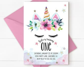 Unicorn birthday invitation, unicorn invitation, magical invitation, Rainbow Unicorn Birthday Invitation, magical unicorn invitation