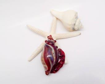 Caramel Ruby Boro Glass Sea Shell Pendants