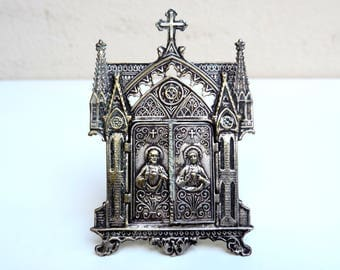 French Vintage Virgin Mary Travel Shrine/Framed Virgin Mary Medallion With Doors/Vintage travel Shrine/Notre Dame De La Garde/Virgin Mary