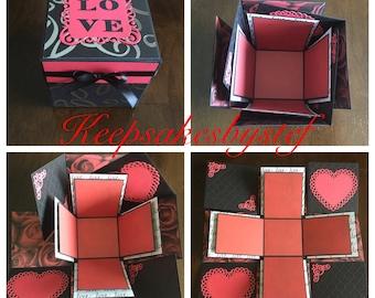 Love Heart Explosion Box - Love exploding box, Explosion Box card, Photo album box, Black red and white Love box