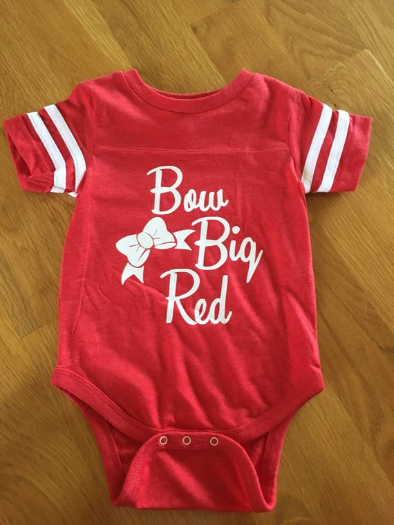 Football bow big red  shirt, toddler big kids adults colored game day shirt, red, purple, green, blue, black, gray football team colors