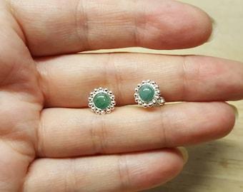 Emerald stud earrings. 925 Sterling silver. Green May birthstone. Reiki jewelry uk. 20th anniversary gemstone.