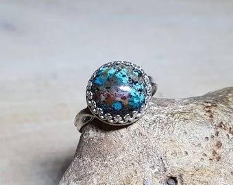 Sterling silver Chrysocolla ring. Reiki jewelry uk.  Adjustable ring. 12mm Semi precious stone