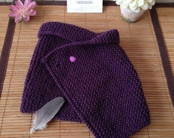 Cape, poncho, snood, wrap for baby 6 to 30 months, purple