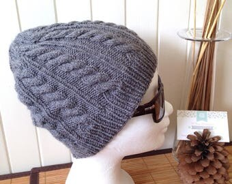 Hat knitting cables woman or teen storm gray