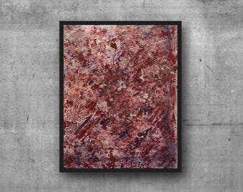 Original Acrylic Sponge Abstract Painting on Canvas Board - Red White Pink Blue Contemporary Textured Abstract Acrylic Canvas Wall Art 9x12