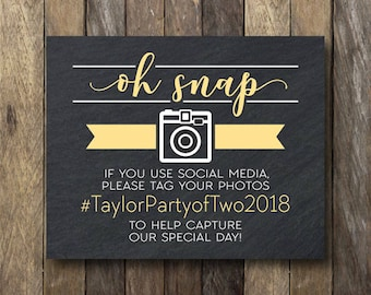 Oh Snap Sign - Printable Wedding Hashtag Sign - Oh Snap Wedding Sign - Printable Hashtag Sign