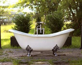 cast iron double slipper clawfoot tub. White 6  Antique Inspired Cast Iron Porcelain Double Slipper Clawfoot Bathtub Package Original Chrome tub Etsy