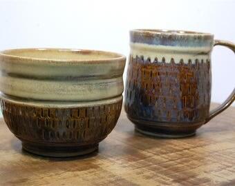 Handmade Blue Creme Ceramic mug/bowl set, functional rustic pottery, earthy, non-toxic glaze, Keurig 16 oz Large cup