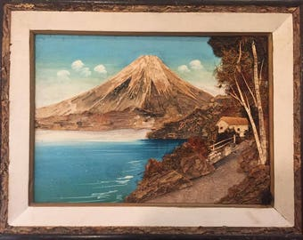 1960S // CABIN by the VOLCANO // Vintage Framed 3D Collage