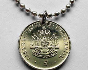 1979 Haiti 5 centimes coin pendant Haitian Port-au-Prince cannons palm tree Caribbean island Hispaniola French Creole necklace n002068