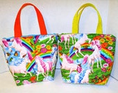 sale RTS Priced Beautiful Handmade Quilted Bright Rainbow Unicorn Small Girls Purse Or  Girls LUNCH BAG Insulated