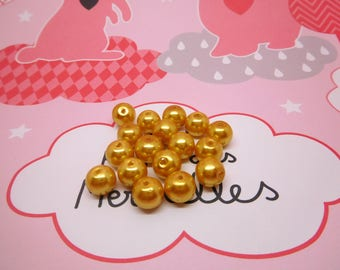 110 gold golden color in 8mm glass pearls