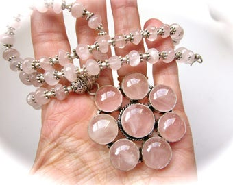 Beautiful Natural Rose Quartz Crystal Beaded Sterling Silver Pendant Necklace