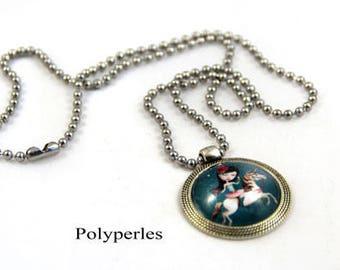 Ball Unicorn cabochon necklace