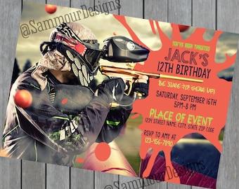 Paintball Invitation - Paintball Birthday  - Paintball Party - Paintball Invite - Paintball