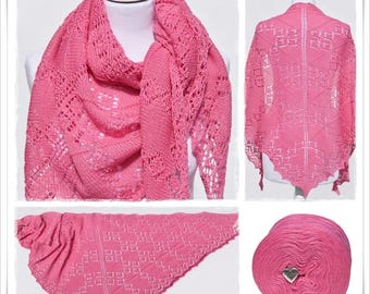 Knitting Pattern Lace Shawl Hot Pink