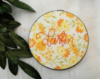 Darlin' Embroidery Hoop Art - Vintage Floral Fabric Fall Flowers - Nursery Decor Autumn - Baby's Child's Room