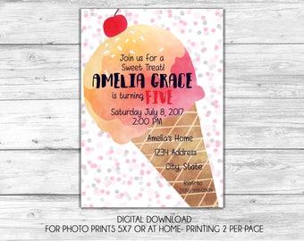Summertime Ice Cream Digital Invitation-Printable