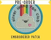 Silver lining fan club embroidered patch - happy - rainbow- metallic - cloud - sunshine - iron on- flair- PRE ORDER