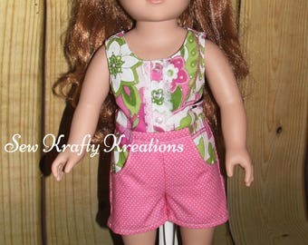 """18"""" Doll Romper - Pink and Green Sparkly Flowers - American Girl/My Life/Our Generation"""