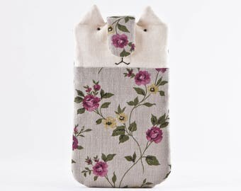 Floral Samsung Galaxy S8 case, Boho iPhone 7 Plus case, Cat iPhone 6 plus case, iPhone sleeve, Cat Bag, Cat Lover Gift, iPhone 6S Plus