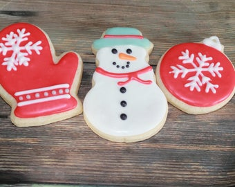 Snowman /Snowflake Winter Vanilla Sugar Cookies