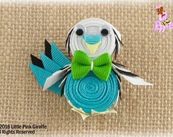 Lil' Poppet™ Tweets, Parakeet Ribbon Sculpture Hair Clip or Brooch Pin