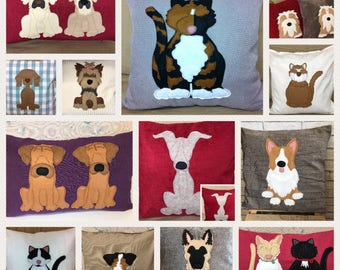personalised dog and cat cushions . Portraits in stitch of your pet from your photos - reversible Cushion with a tail