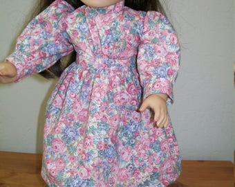 Pink Floral Calicio Dress for the American Girl or 18 Inch Dolls